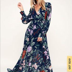 Navy blue floral print long sleeve maxi dress